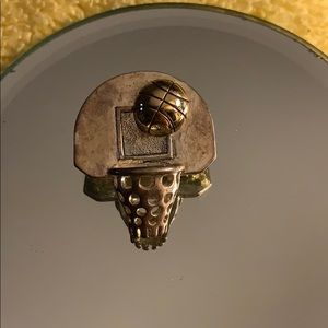 Basketball Brooch or Slide for Necklace